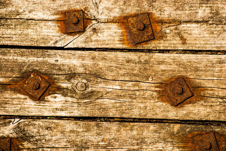 splintered: Old Shabby Wooden Planks with rusted bolts, grungy background texture Stock Photo