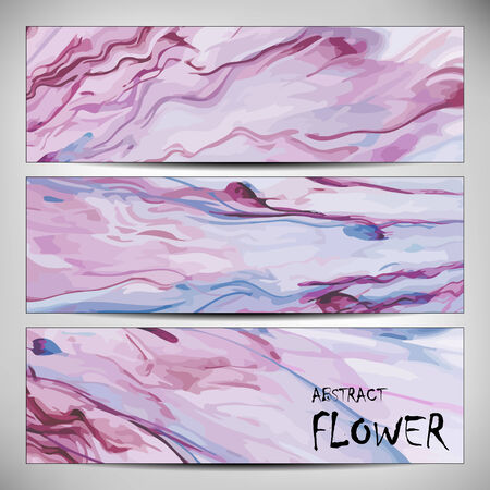 printed media: Banners with abstract Flower texture, purple. Modern colorful pattern resembling watercolor strokes. Design element for backgrounds, printed media, web banners, etc.