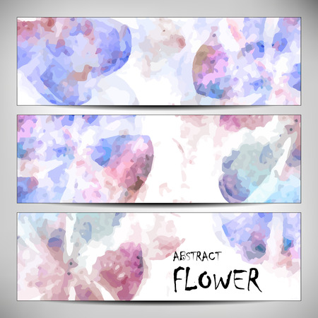 printed media: Banners with abstract Flower texture, brown, purple. Modern colorful pattern resembling watercolor strokes. Design element for backgrounds, printed media, web banners, etc.