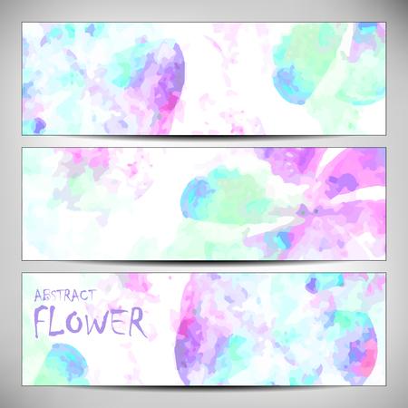 verde y morado: Banners con textura abstracta flor, verde, p�rpura. Patr�n de colores se asemeja a los trazos de acuarela modernos. Elemento de dise�o para los fondos, medios de comunicaci�n impresos, banners web, etc. Vectores