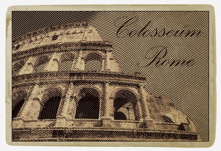 Colosseum (Coliseum) in Rome, Italy. Vintage travel postcard.