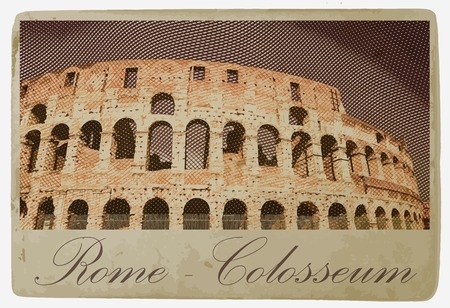 Colosseum (Coliseum) in Rome, Italy. Vintage travel postcard. Vector