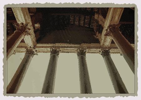 pantheon: Columns of Pantheon in Rome. Vintage travel postcard.