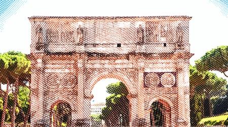 roman empire: Arch of Constantine, Rome, Italy. Vintage travel postcard.