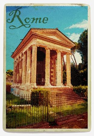 fortuna: Temple of Fortuna Virilis or Temple of Portunus (tempio di Portuno). Rome. Italy. Vintage travel postcard. Illustration