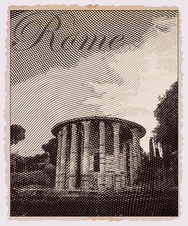 rome italie: Temple d'Hercule Victor, Rome. Italie. Carte postale vintage Voyage.