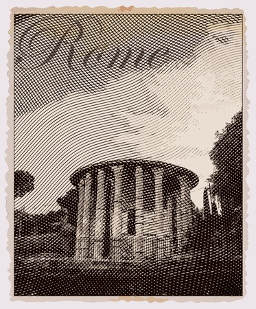 roman empire: Temple of Hercules Victor, Rome. Italy. Vintage travel postcard.