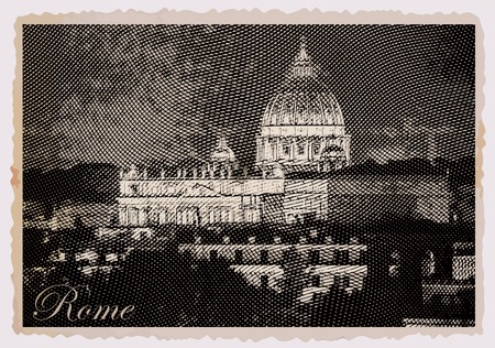 Night view at St. Peters cathedral in Rome, Italy. Vintage travel postcard.