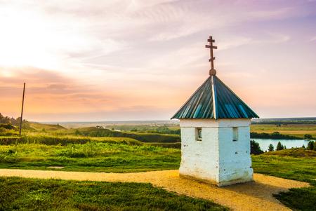 esenin: Little chapel with beautiful landscape in Konstantinovo, Russia - the birthplace of russian poet Sergei Yesenin Stock Photo