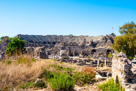 ruins of ancient city in Side, Turkey