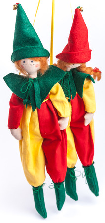clothed: Textile dolls clothed up in colorful costumes. Couple of clowns. Stock Photo