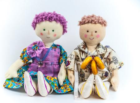 Rural textile dolls couple.