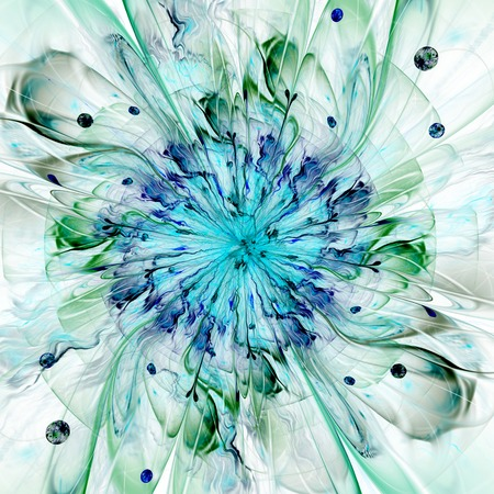 Abstracte hoge resolutie behang met een gedetailleerde moderne exotisch uitziende stralende bloem in het midden en een gedetailleerde decoratief patroon Stockfoto