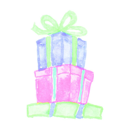 Colorful box with ribbon, gift box painted with watercolor. Desighn element for holidays and shopping. Vector