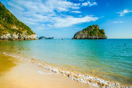 Beautiful rocky islands near Cat Ba, Vietnam photo