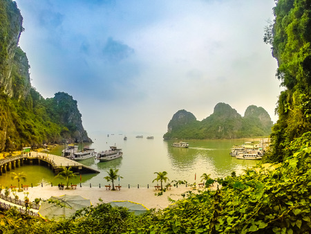 ha: Picturesque view of the famous Ha Long Bay in Vietnam