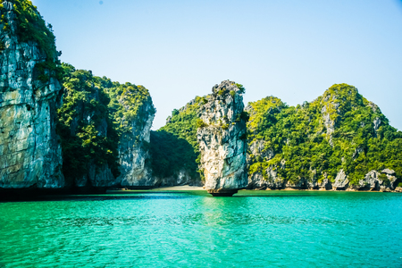long bay: Beautiful view on limestone rocks of Ha Long Bay, one of the main travel destinations in Vietnam