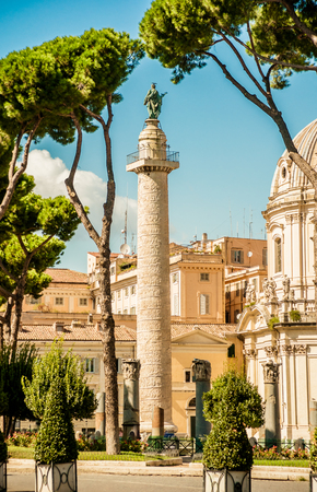 forums: View on Via dei Fori Imperiali street in Rome. Along the street are situated major landmarks of Rome - ancient forums, colosseo, etc.