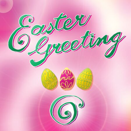 honeysuckle: Easter greeting card with eggs, hand drawn calligraphic elements and blurred background