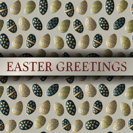 sd: Easter greeting template with seamless patterns made with hand drawn elements Illustration
