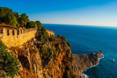 turkey beach: Castle of Alanya overlooking the city and the beach, one of the famous destinations in Turkey