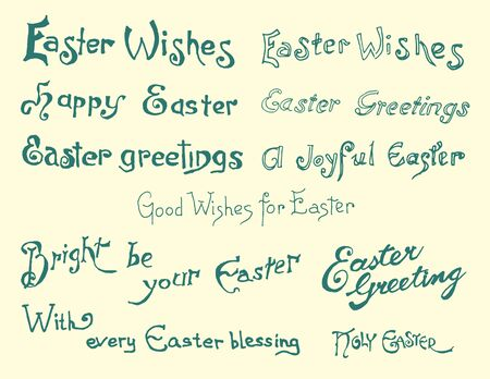 Set of easter greetings, hand drawn calligraphic elements Vector