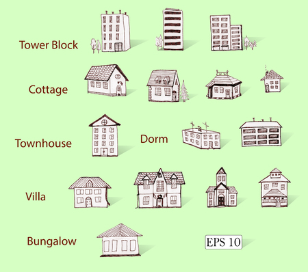 3d bungalow: Hand drawn icons of residential buildings, for real estate infographics, web sites, and printed media. Illustration