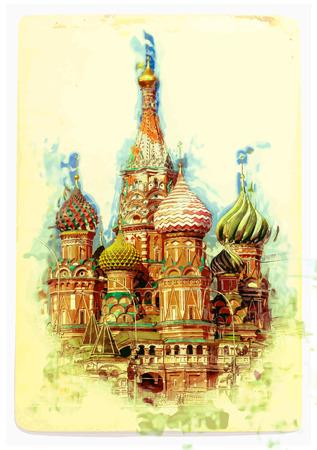聖ワシリイ大聖堂、モスクワ、ロシアの赤の広場に  イラスト・ベクター素材