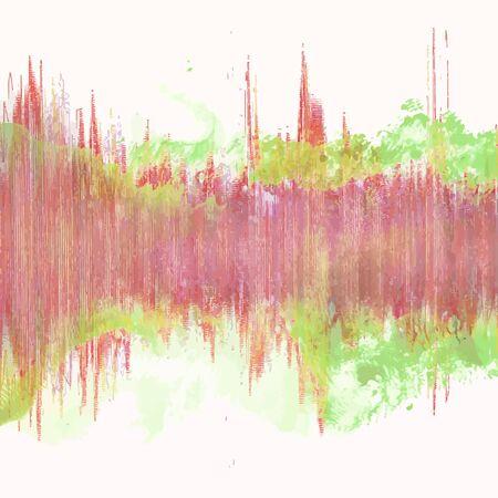 Colorful waveform, vintage abstract background Illustration