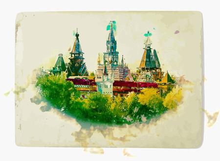 kremlin: Beautiful landscape with Izmaylovo Kremlin in greenery, Moscow, Russia