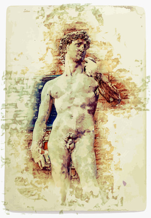 face painting: David of Michelangelo, vintage postcard background for Italy, Florence