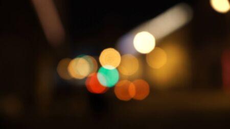 vj: Semafori notte Defocused, sfondo sfocato abstract Archivio Fotografico