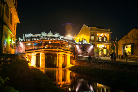 japanese bridge: Old japanese bridge at night in Hoi An, Vietnam