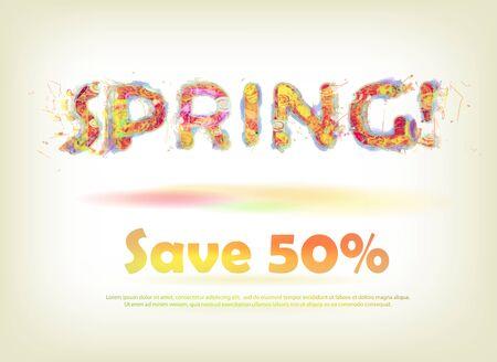 thrift: Etiqueta para venta de primavera con las letras brillantes y coloridas de la primavera