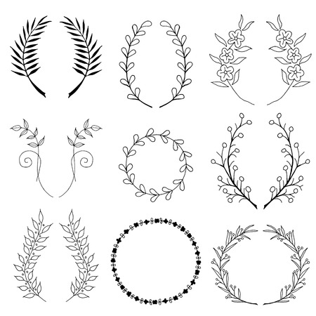 delicacy: Collection of hand drawn laurels and wreaths.