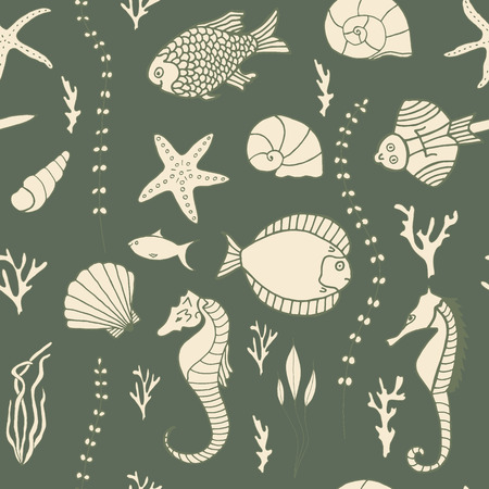 seaweeds: Seamless pattern with hand drawn fishes, corrals, shells, seaweeds and sea-horses.