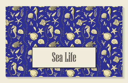 oceanside: Template for menu, booklet or invitation with seamless pattern that includes hand drawn fishes, corrals, shells, seaweeds and sea-horses.