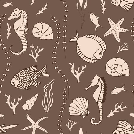 Seamless pattern with hand drawn fishes Vector