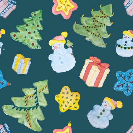 Seamless pattern for Christmas with watercolor gift boxes, christmas trees, snowmen and other decorations. Vector