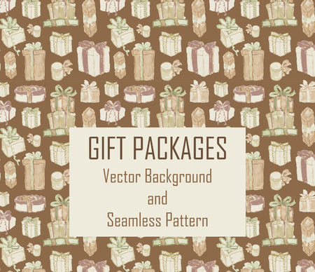 christmas perfume: Seamless texture with hand drawn watercolor gift boxes. Perfect background for scrapbooking, wrapping paper or other holiday designs.