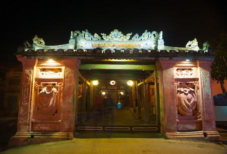 Old japanese bridge at night in Hoi An, Vietnam