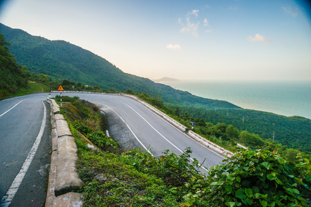 Hai Van pass - the famous road which leads along the coastline mountains near Danang city in Vietnam. photo