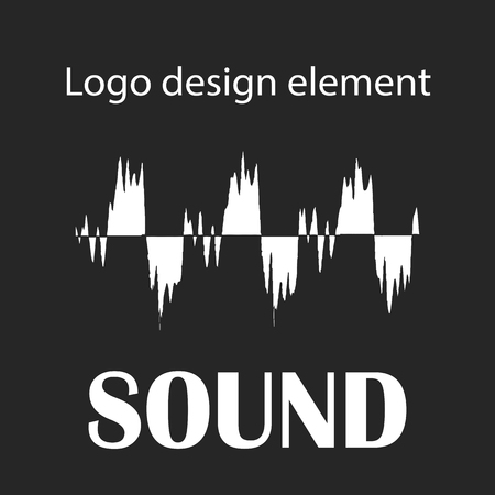 vibrations: Black and white waveform as a logo element and symbol for music, sound engineering, and dance Illustration