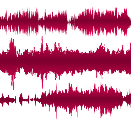 vibrations: Set of colorful waveforms, vintage abstract background and symbol for music, sound engineering, and dance Illustration