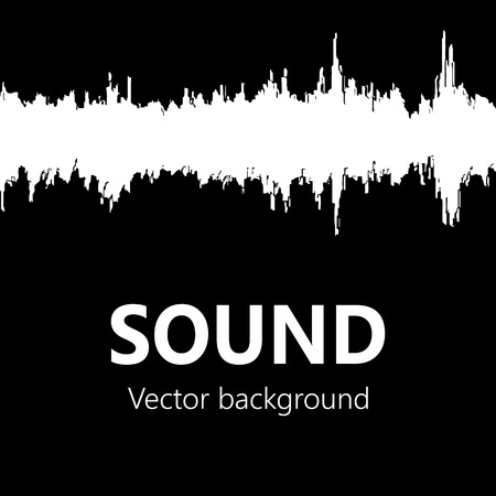 waveform: Black and white waveform as a logo element and symbol for music, sound engineering, and dance Illustration