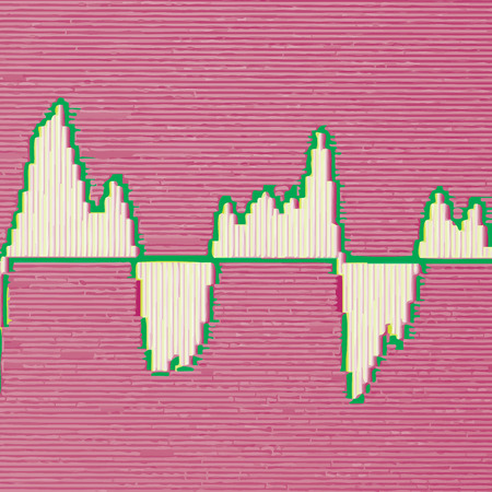 vibrations: Colorful waveform, vintage abstract background and symbol for music, sound engineering, and dance