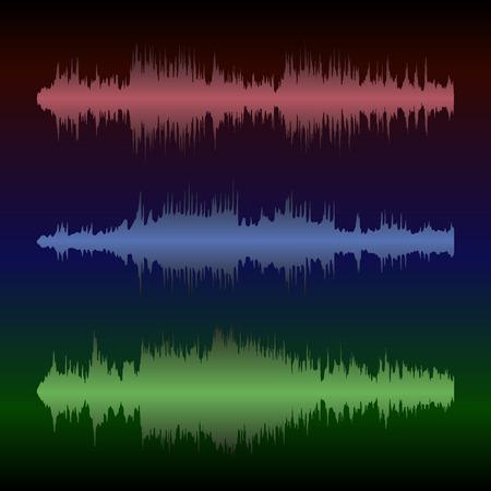 カラフルな波形、ビンテージの抽象的な背景、音楽、サウンド エンジニア リング、ダンスのための記号のセット