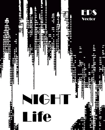 Stylish black and white background with random ink elements resembling night lights. Perfect for banners, booklets and web project. Nightlife noir imagery.