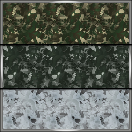 army soldier: Set of contemporary camouflage tiles with uniform patterns for all seasons. Seamless background tiles for military clothing prints, vehicles and game design. Illustration