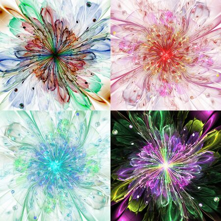 new age: Set of abstract high resolution backgrounds with a detailed modern exotic looking shining flower in the center and a detailed decorative pattern with beams, orbs and ornamental pattern Stock Photo